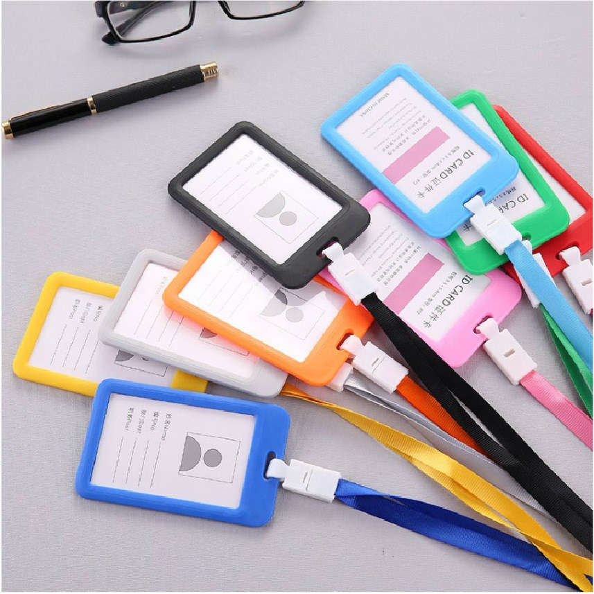 1pc Name Credit Card Holders Women Men PU Bank Card Neck Strap Card Bus ID Holder Students Kids Identity Badge With Lanyard