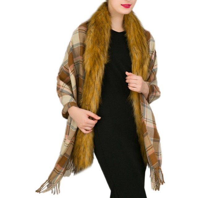 2017 winter women cloak  high quality faux fur fashion imitation wool knit jacket  waistcoat imitation fur shawl cape 8 color