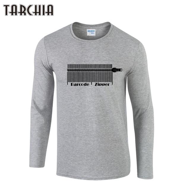 6fa78fcf5 TARCHIA Autumn Barcode Zipper Men T-Shirts Fashion Casual Style Cotton Slim T  Shirts Long