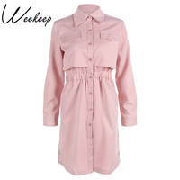 Weekeep 2017 Autumn Winter Brand Women Office Dress Pink Black Shirt Robe Vintage Retro Midi Tunic