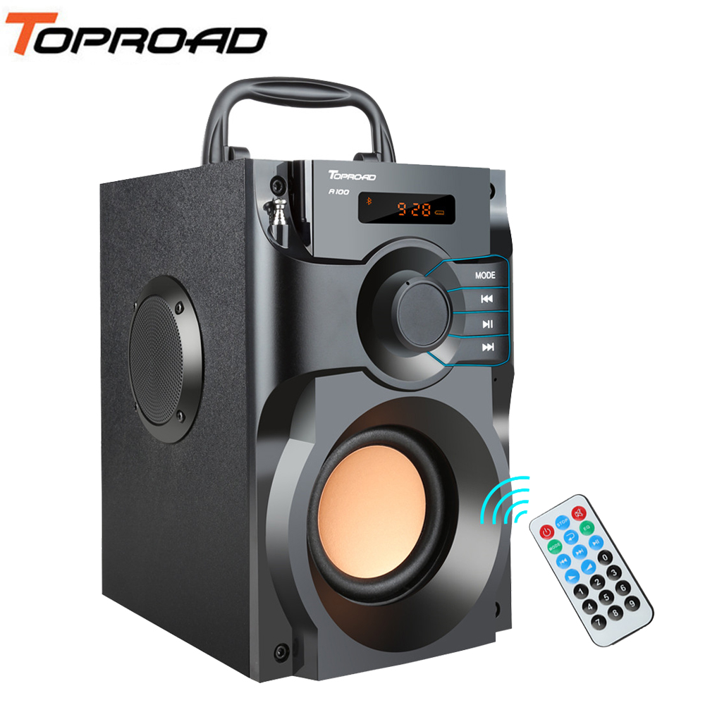 TOPROAD Wireless Bluetooth Speaker Stereo Subwoofer Bass Speakers Column Soundbox Support FM Radio TF AUX USB Remote Control Гриль