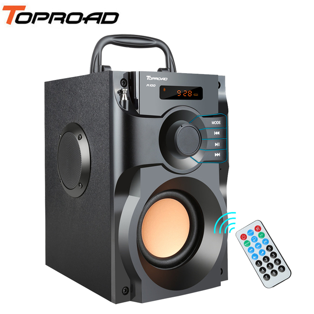 Toproad caixa de som bluetooth stereo, caixa de som bluetooth, subwoofer, graves, coluna, suporte para rádio fm, controle remoto aux usb