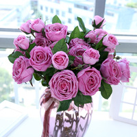 (white red pink fuchsia)silk flowers real touch roses bouquet home decoration table Centerpieces