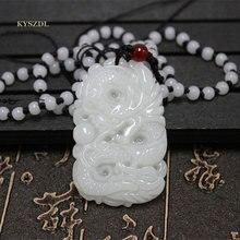 Xinjiang Hetian jade white pendant ERON old pit dragon pearl Jade Dragon Pendant Zodiac Sign