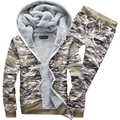 2016 new arrivals thick casual sportswear men's suit camouflage fleece tracksuit hoodies set M-5XL CYG148