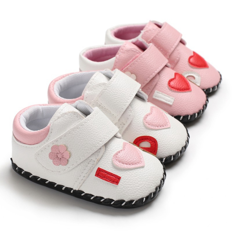 Baby Girls Shoes Infant First Walkers Spring Soft Sole Non-Slip PU Princess Casual Flower Shoes