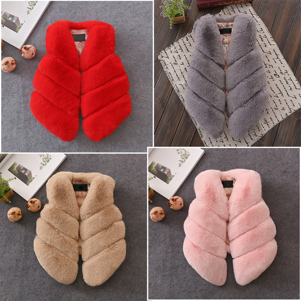 Kids Girls Artificial Fur Vest Coats Winter Warm Waistcoat Sleeveless Jacket Children's artificial fur vest girl jacket children