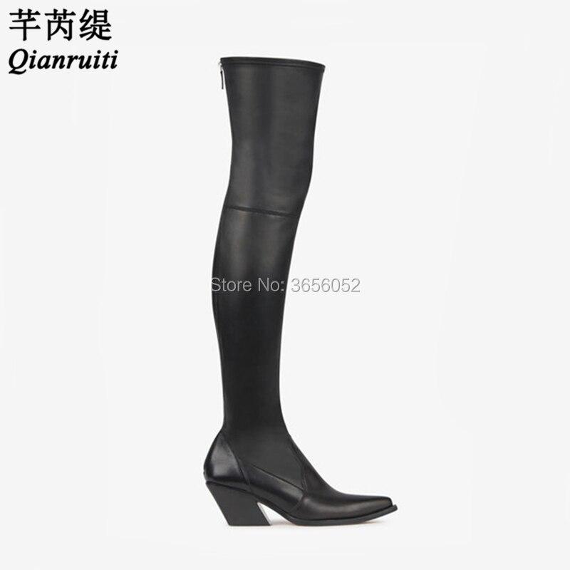 Cuir Chaussures Bottes Noir Plaine Pointu Hiver D'équitation Pic Botas Bout Long Sexy En Qianruiti Cuisse Stretch Automne Haute Talon As Bloc qSVUpMGz