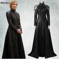 Game of Thrones Saison 7 Cosplay Kostüm Cersei Lannister Phantasie Kleid Schwarz Outfit Halloween Karneval Erwachsene Frauen Ganz