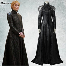 Game of Thrones Season 7 Cosplay Costume Cersei Lannister Fancy Dress Black Outfit Halloween Carnival Adult Women Tailored Made(China)