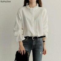 KoHuiJoo Spring Autumn Black White Elegant Shirts Women Casual Ruffle Neck Blouses And Tops Plus Size
