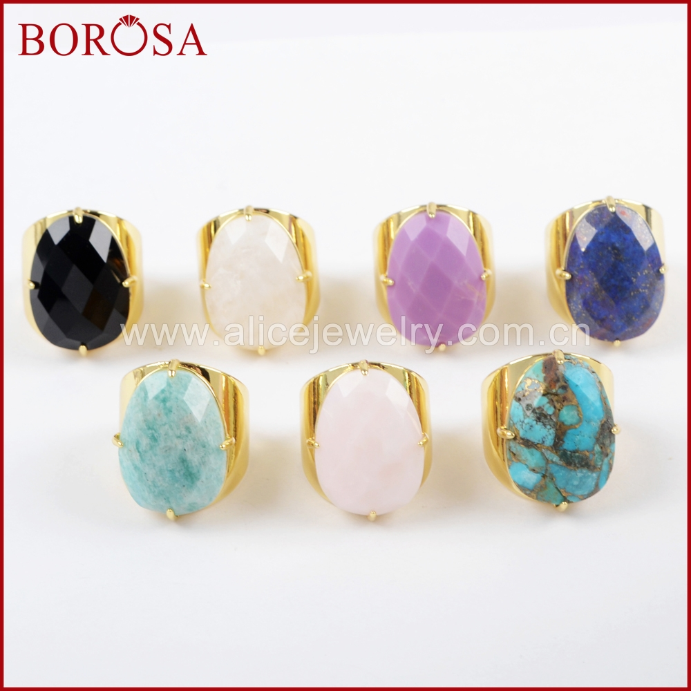 BOROSA 5PCS Gold Color Claw Egg Shape Natural Multi kind Stones Faceted Band Ring Jewelry Agates