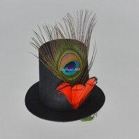 Nuevas Mujeres de la Muchacha Señora Clip de Pavo Real Pluma Mini Top Hat Fascinator Fiesta de Carnaval de Navidad Año Nuevo