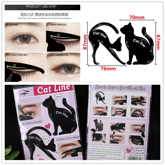 2pcs/pack For 10 Styles Quick Makeup Cat Eyeliner Smokey Eyeshadow Drawing Guide Reusable Stencil for Classic Eye Liner Template
