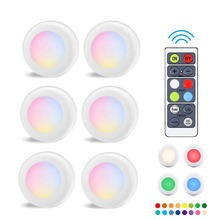 RGB 16 Colors Wireless LED Closet Light 3 Modes Dimmable Touch Sensor Under Cabinet Puck Wardrobe Night Lights