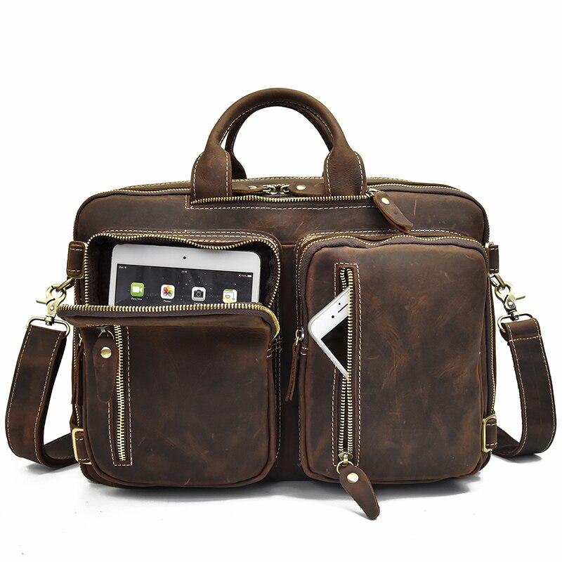 Mochila De cuero de alta calidad, mochila de cuero de vaca con cremallera doble, maletín de viaje para oficina, bolsos de hombro de doble uso, de cuero puro - 5