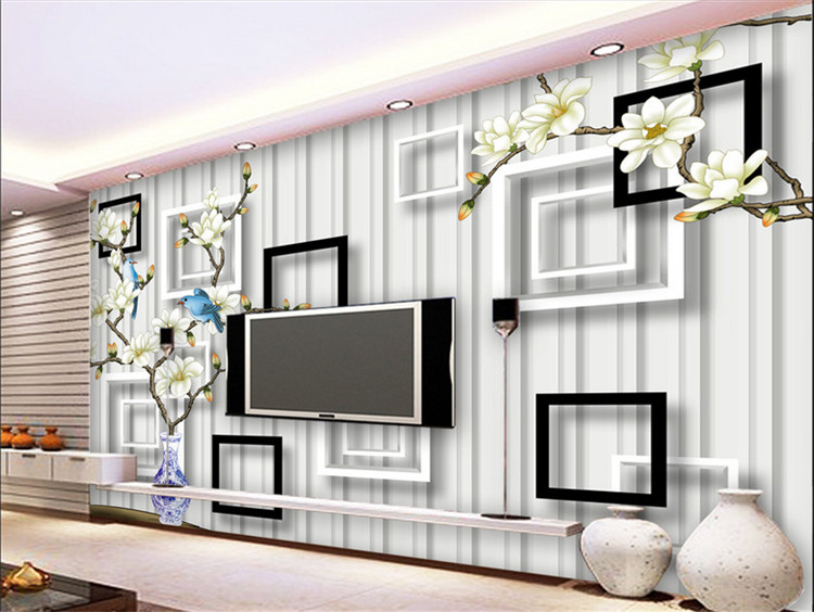 Custom Photo Wallpaper TV Background Wallpaper Large Mural Nonwoven Fabric Wallpaper Canvas Living Room Modern Chinese Magnolia