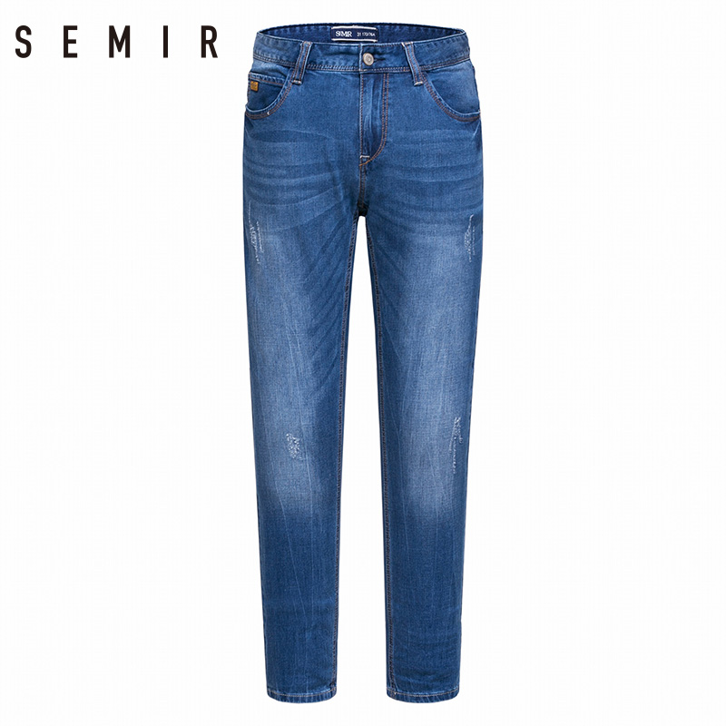 SEMIR jeans mens new summer 2018 feet jeans man trend cultivate ones morality pants stretch mens trousers