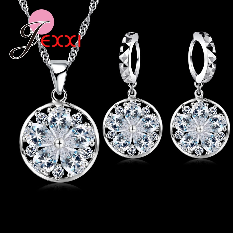 New Fashion Elegant Luxury Wedding Jewelry Sets Women Bride Accessories Crystal Snowflake Pendant Necklace Earring Set