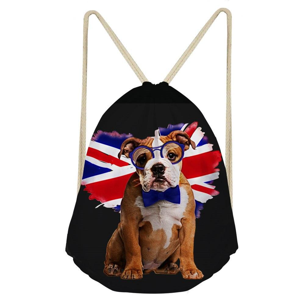 ThiKin English Bulldog Drawstring Bag 3D Printing Mochila Feminina Drawstring Backpack Women daily Casual Girl s