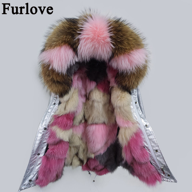 2017 new short winter jacket coat women parka real Raccoon Fur Collar hooded natural fox fur coat Thick Warm Fur liner parkas 2017 winter new clothes to overcome the coat of women in the long reed rabbit hair fur fur coat fox raccoon fur collar