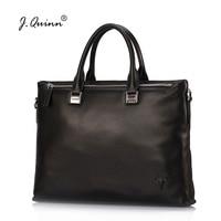 J Quinn Men Laptop Bag Real Leather Handbag Quality Genuine Cowhide Travel Bags Male Business Commute