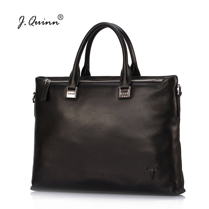 J.Quinn Men Laptop Bag Real Leather Handbag Quality Genuine Cowhide Travel Bags Male Business Commute Crossbody Briefcases New