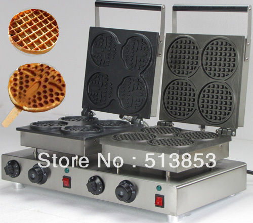 High Quality Doulbe-Head Electric Smile Waffeleisen+Round Waffle Maker Machine Baker economic and elegance waffle maker machine baker doulbe head electric churros with bar shaped and popsicle