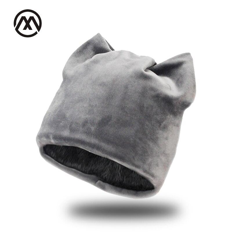 Woman winter flannel Skullies cat ear hat