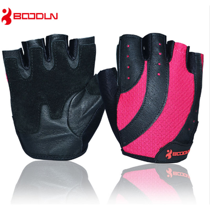 Boodun Brand Sports Gloves Weight Lifting Ladies Genuine Leather Summer Half Finger Gym Glove Women Exercise Fitness Gloves