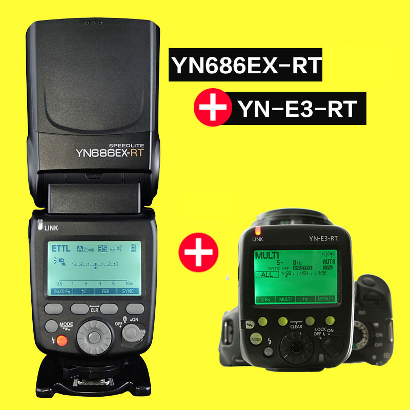 YONGNUO YN686EX-RT lithium Flash Speedlite 1/8000s E TTL/M/MULTI 2.4G Wireless Master Falsh with Trigger YN-E3-RT Kit  for Canon yongnuo flash speedlite wireless transmitter yn e3 rt for canon cameras compatible with yn600ex rt as st e3 rt