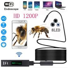 WI-FI эндоскопа Камера HD 1200 P 1-10 м жесткий Провода IP68 Водонепроницаемый Змея пробки инспекции Android IOS Провода меньше бороскоп Камера