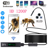 WIFI Endoscope Camera HD 1200P 1 10M Hard Wire IP68 Waterproof Snake Tube Inspection Android ios wireless Borescope Camera