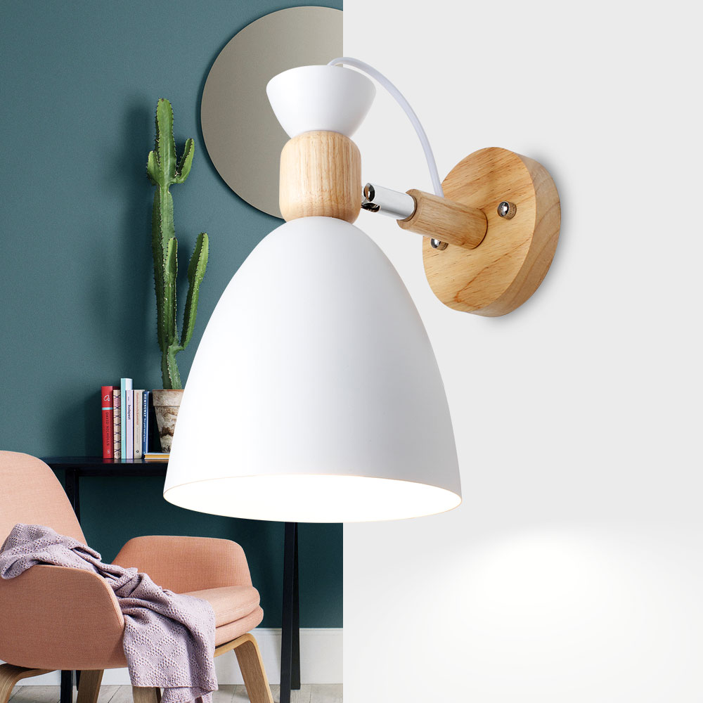 Lights & Lighting Modern Nordic Wall Sconce Wall Lamp With Oak Wood Round Table Usb Power Interface Bedside Sofa Side Bedroom Light