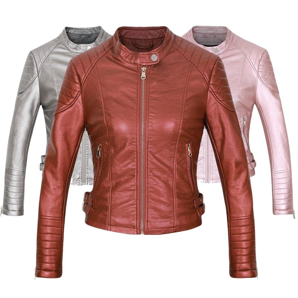Black z002 Hot Nuevas z002 Z002 Chaquetas z002 Cremallera Abrigos Señoras Motocicleta Biker Casual Leather Red Elegante Wine Faux Silver Fit Slim z002 2018 Mujeres Abrigo Pink Brown aRnBASB