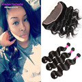Brazilian virgin annabelle hair with lace frontal 3 bundles body wave Christmas the best gift wet and wavy with full lace fronta