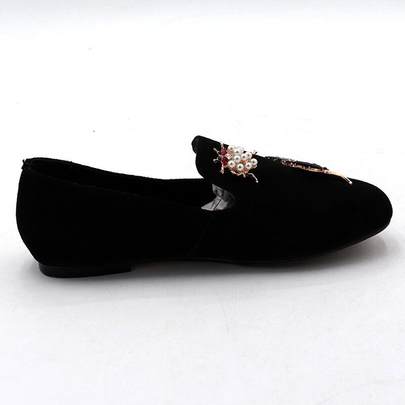 Solide Bout Lades Appartements Enmayer Chaussures Noir De forme Plat Slip Femme Profonde Cristal Peu Plate Nouvelle Rond Filles Décontractées on wXqUa
