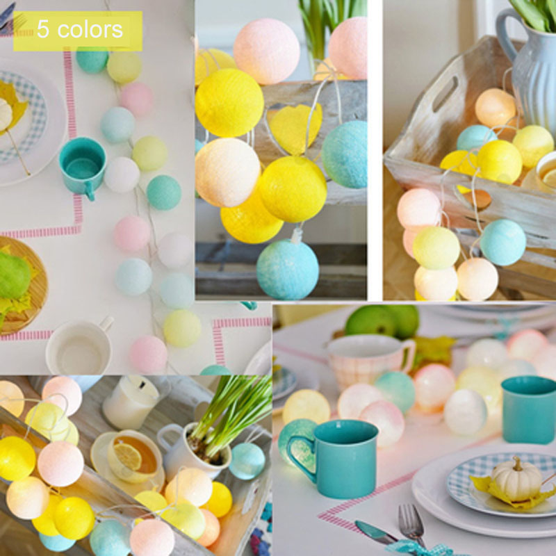 5 Colors Cotton Balls Lights 10m 38 LED String Fairy Christmas Lights Garlands Holiday Party Wedding Kid Room Decoration CT15
