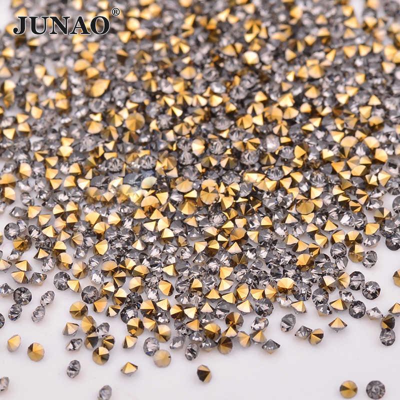 JUNAO 1.2mm זהב עלה מיני זכוכית ריינסטון מיקרו Strass גליטר קריסטל אבן יהלום פיקסי נייל אמנות קישוט 1440pcs