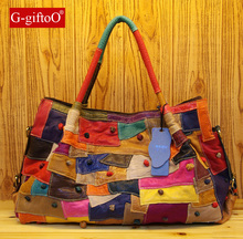 2015 New Fashion Women Messenger Bags Genuine leather Bag Women Luxury Handbags Multicolor Splicing Real leather Bags