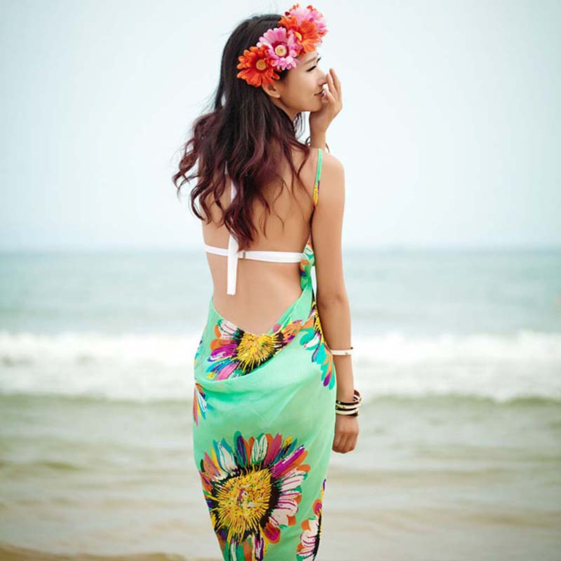 Bikini cover up floral backless dress
