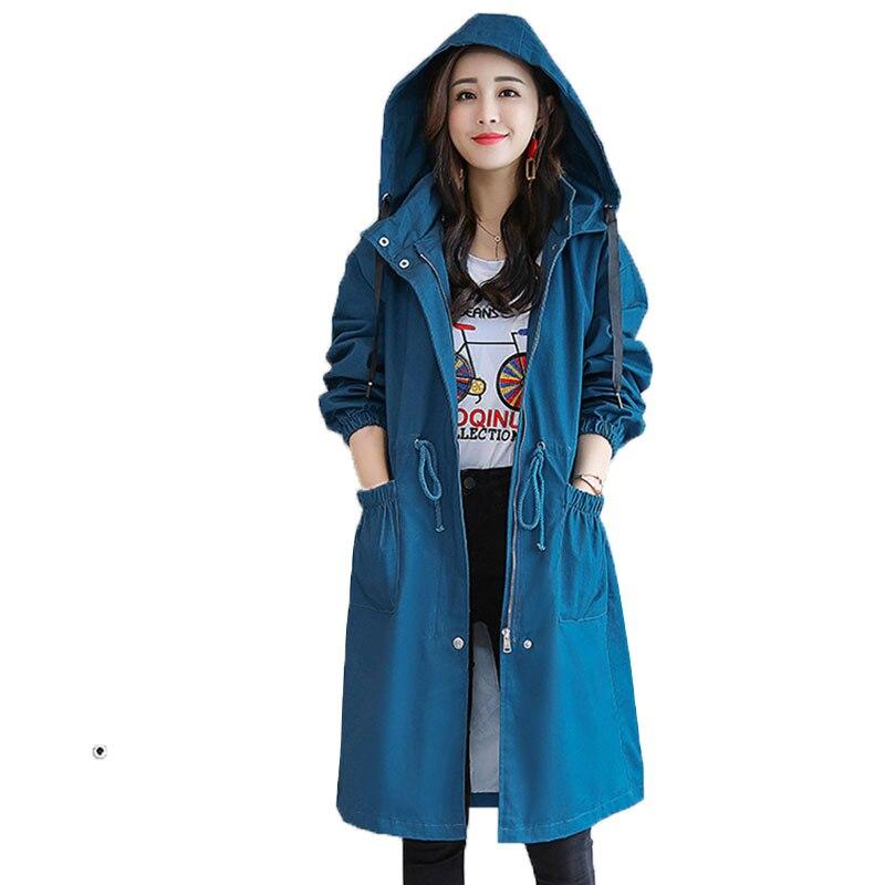 2019 Spring Autumn Women Trench Coats New Hooded Adjustable Waist Loose Casual Zipper Plus size windbreaker
