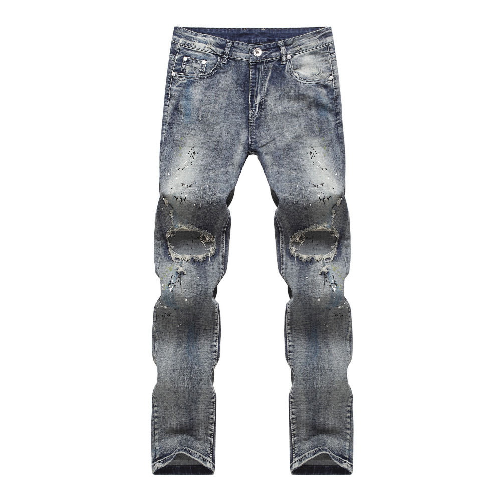 Fashion Mens Destroyed Torn Knees Hole Jeans Slim Fit Straight Ripped Skinny Denim Jeans Long Casual Trousers for Man