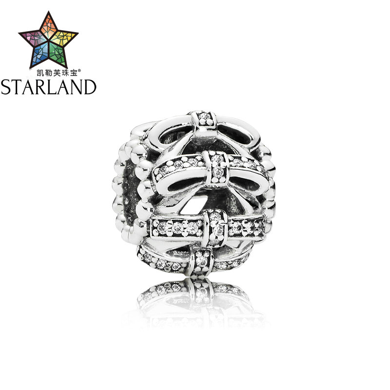 Starland Authentic S925 Sterling Silver Full Cute Bow Clear CZ Crystal Beads Charms Bangles DIY Women Jewelry GiftStarland Authentic S925 Sterling Silver Full Cute Bow Clear CZ Crystal Beads Charms Bangles DIY Women Jewelry Gift