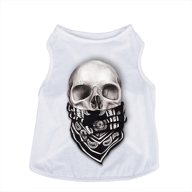 New Pet Summer Cotton Clothes 3 Size Dog 3D Deaign Skull Head Pattern Apparel  Puppy Cat Vest Coat Thin Breathable White T-shirt