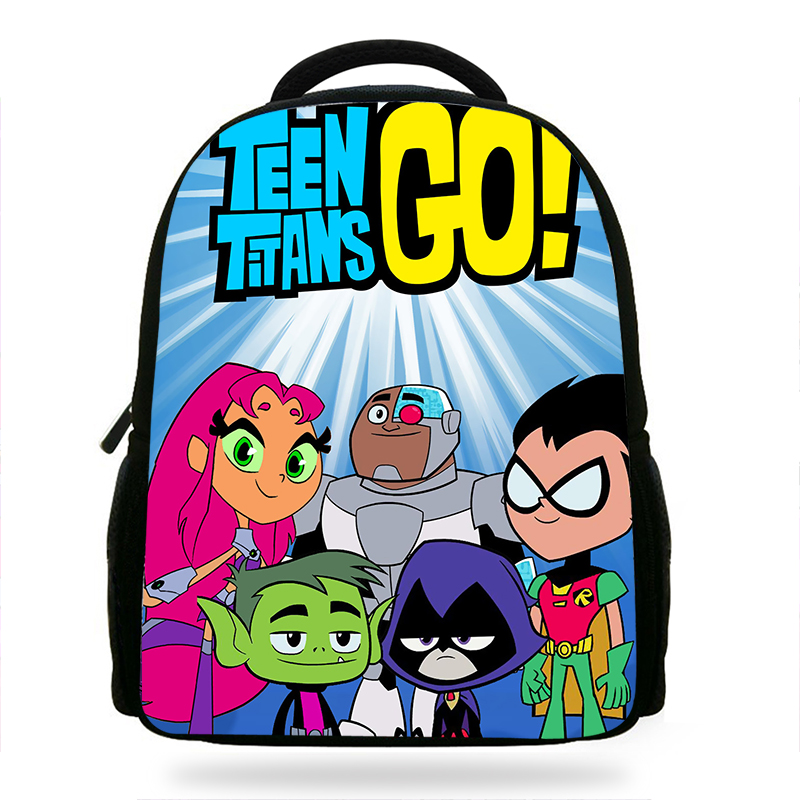 14inch Popular Cartoon Teen Titans Go Printing Backpack Boys School Daily Backpacks Little Children Backpack KidsMochila