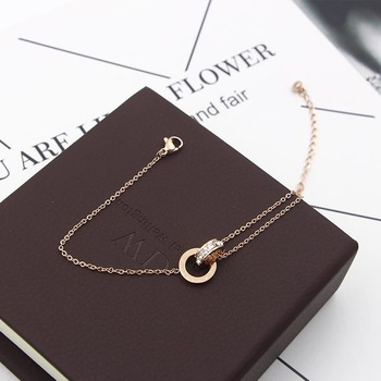 Fashion Rose Gold Color Beautiful Anklet Double Circle Chain Roman Numeral And Crystal Anklet Woman Gift Stainless Steel Jewelry 3