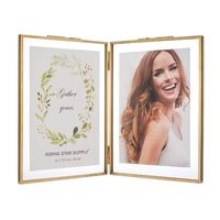 4x6 Picture frames Gold Double Picture Frame With Pressed Glass Photo Frame, Brass