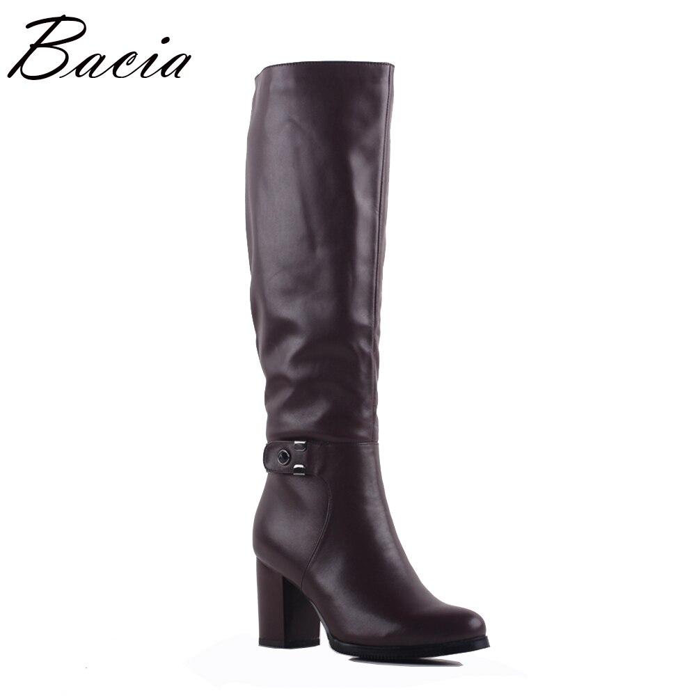 Bacia Automne Hiver Bottes En Cuir Femmes de Vache En Cuir Bottes De Laine de Mode Vintage Style Chaussures Femmes Genou-Haute Casual Chaussures SA078