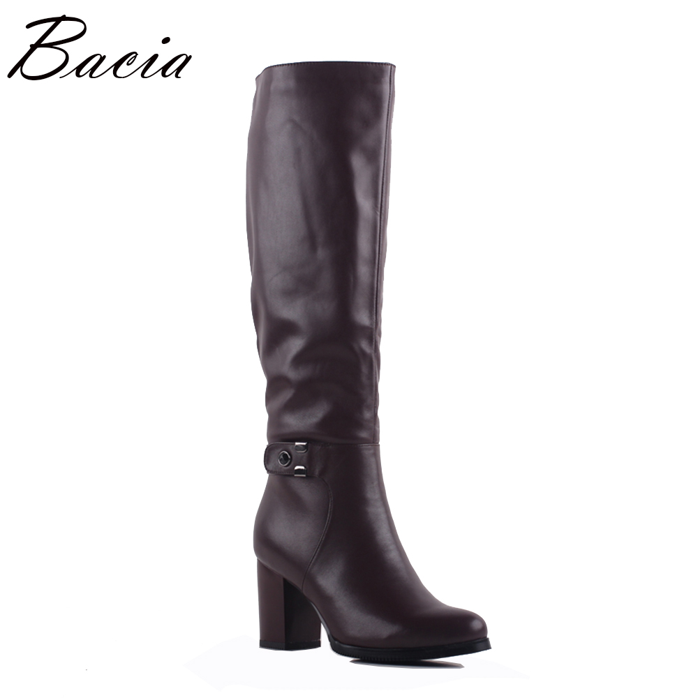 Bacia Autumn Winter Boots Leather Women Cow Leather Wool Boots Fashion Vintage Style Female Shoes Knee-High Casual Shoes SA078